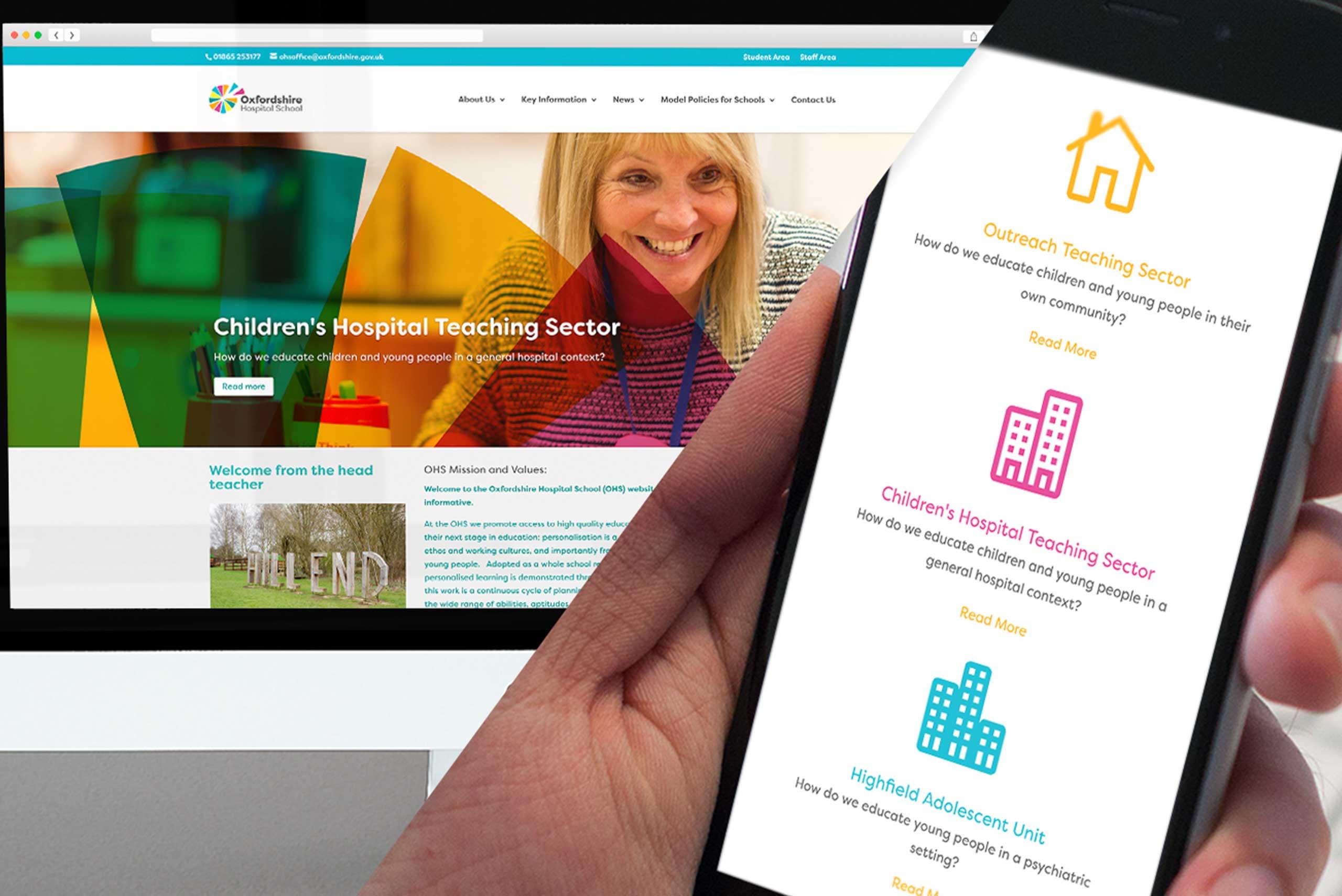 Oxfordshire hospital school website mockup